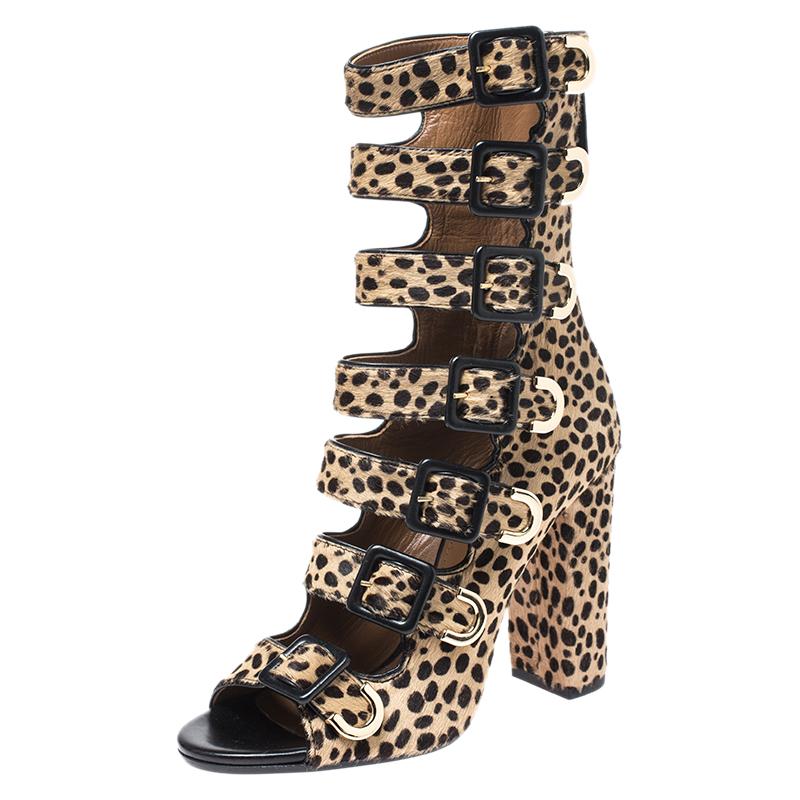 Aquazzura Leopard Print Pony Hair Tutto Buckle Zip Up Open Toe Sandals Size 37 In Brown