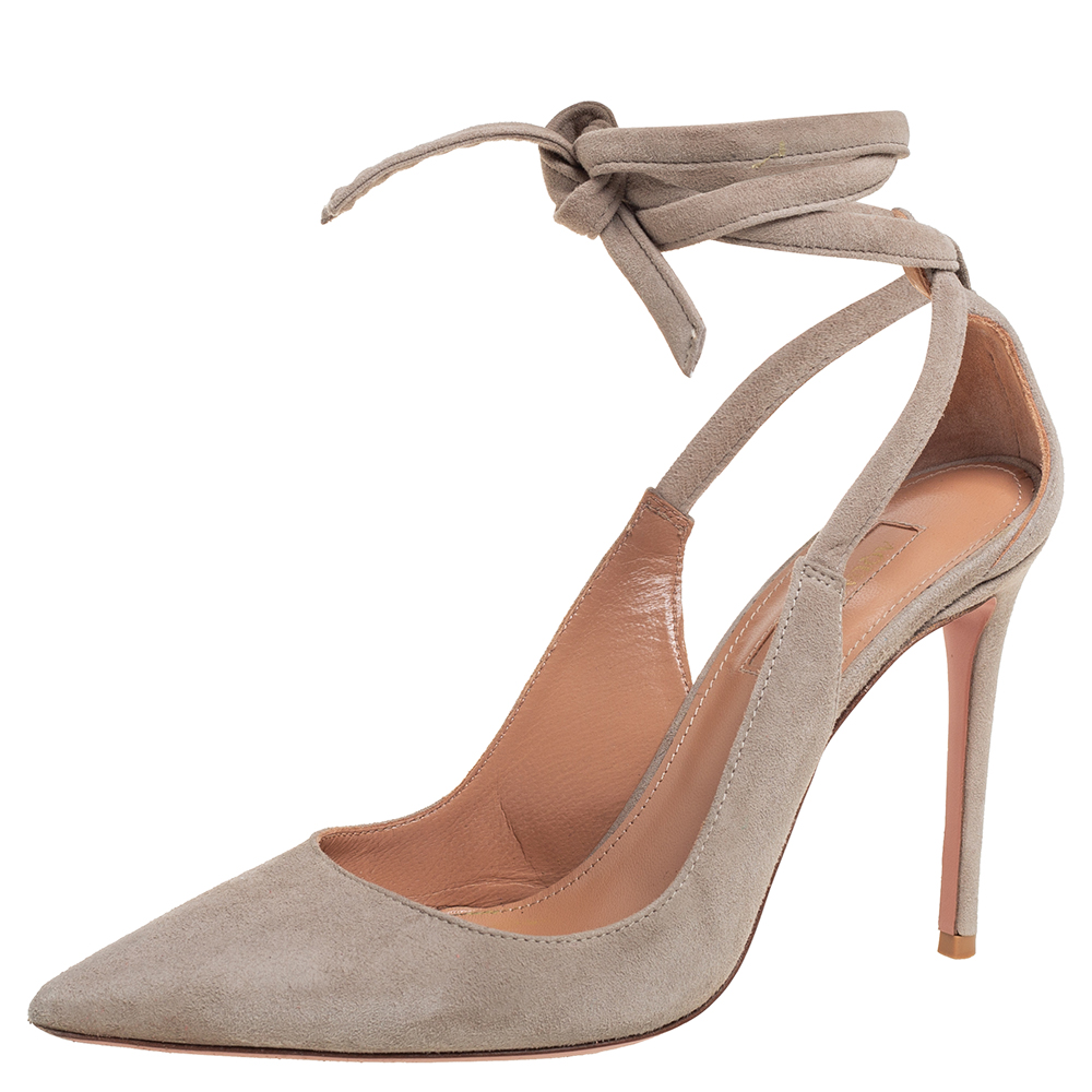 Pre-owned Aquazzura Grey Suede Milano Pointed Ankle Tie Pumps Size 37