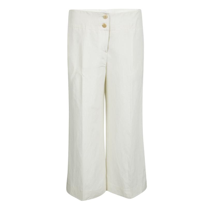 Armani Collezioni Cream Linen Silk High Waist Wide Leg Pants M