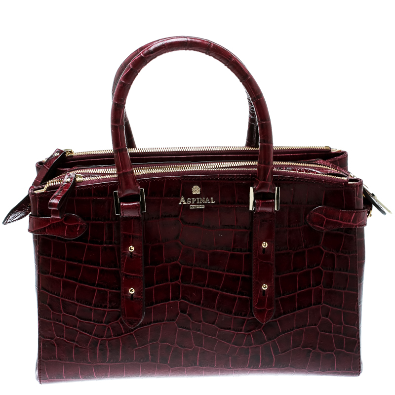 Aspinal Of London Burgundy Croc Embossed Leather Brook Street Tote