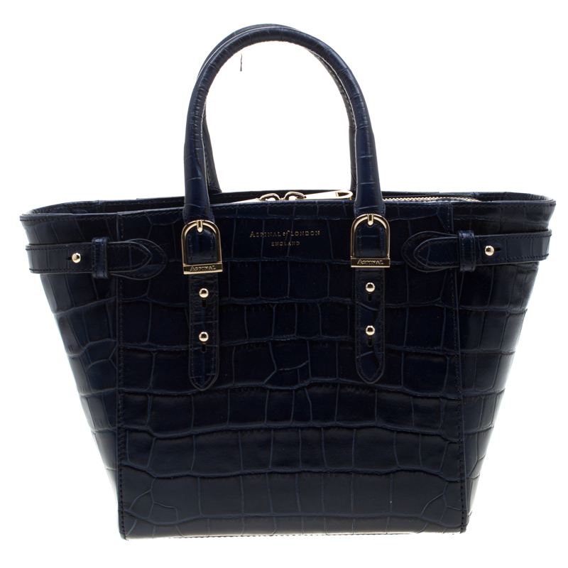 Aspinal of London Blue Croc Embossed Leather Marylebone Top Handle Bag