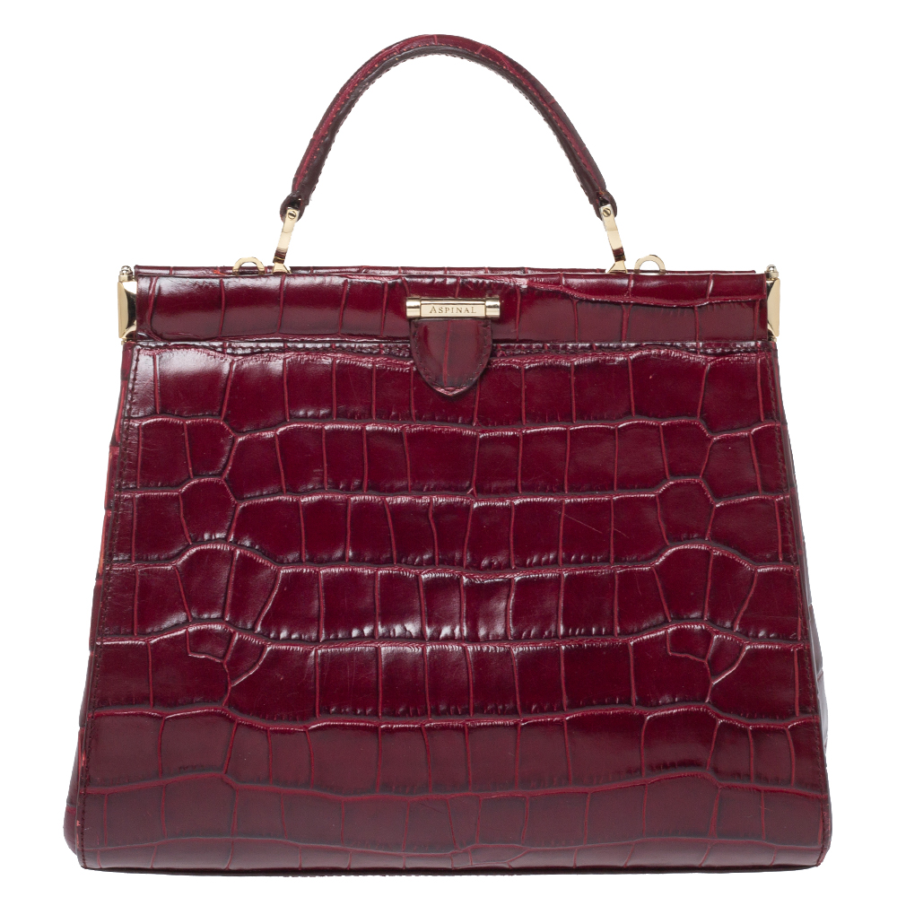 Pre-owned Aspinal Of London Maroon Croc Embossed Leather Top Handle Bag In Red