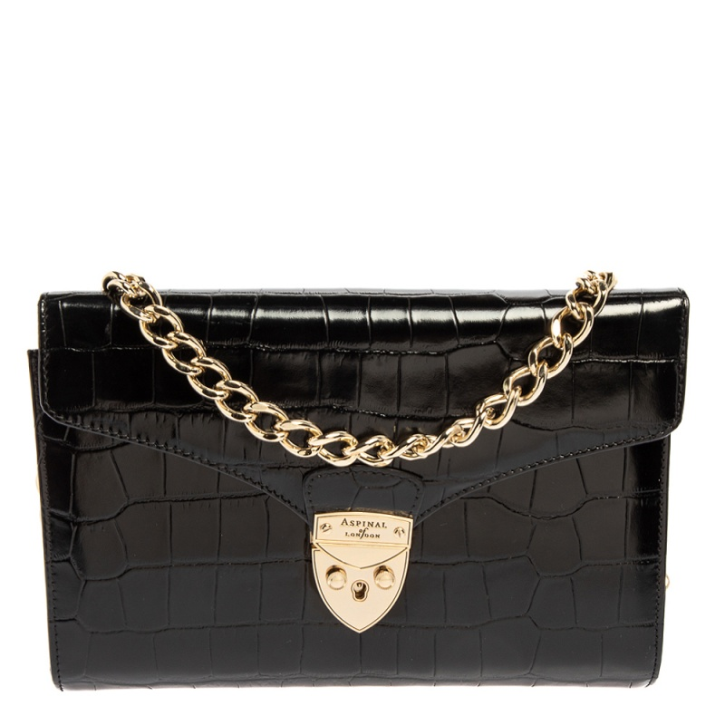 Pre-owned Aspinal Of London Black Croc Embossed Leather Chain Mayfair Shoulder Bag