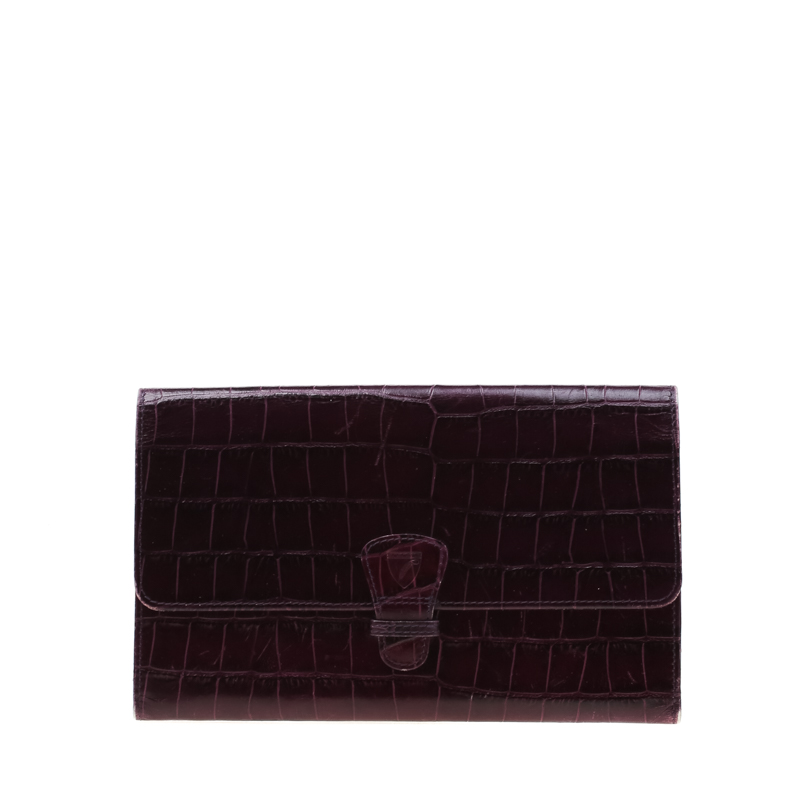 Aspinal of London Purple Croc Embossed Leather Classic Travel Wallet