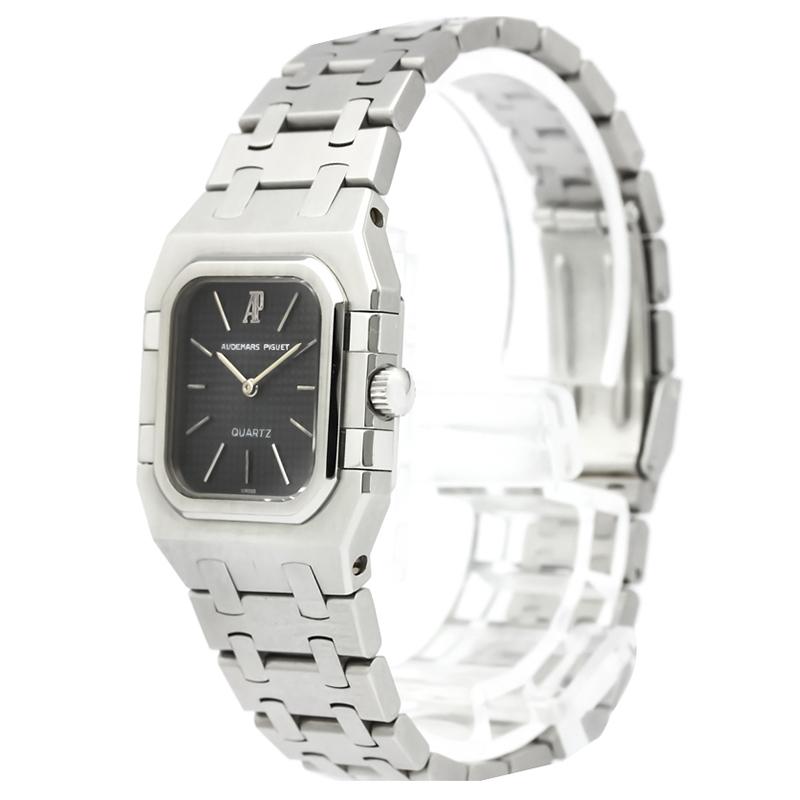 Audemars Piguet Black Stainless Steel Royal Oak Quartz Women's Wristwatch 25MM
