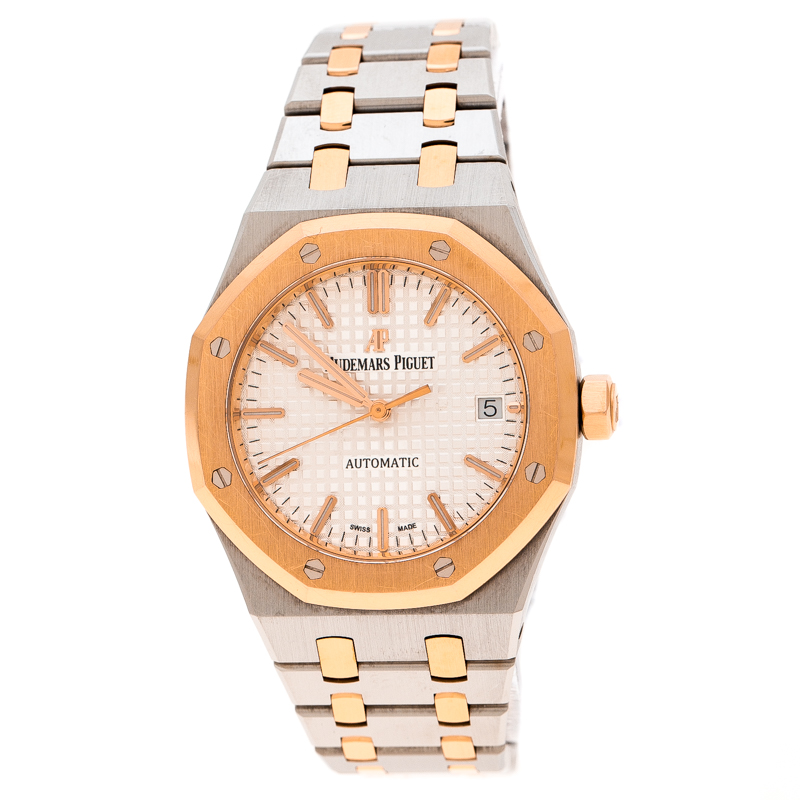 Audemars Piguet Silver White 18K Rose Gold Stainless Steel Royal Oak 15450SR.OO.1256SR.01 Men's Wristwatch 37 mm