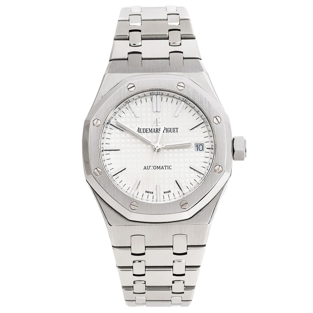 Audemars Silver Stainless Steel Royal Oak 15450ST.OO.1256ST.01 Unisex Wristwatch 37 mm