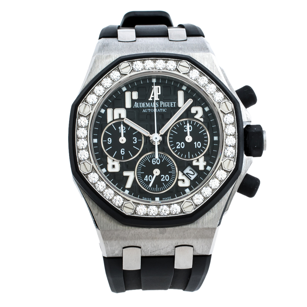 Audemars Piguet Black Stainless Steel Diamonds Royal Oak Offshore 26048SK.ZZ.D002CA.01 Women's Wristwatch 37 mm