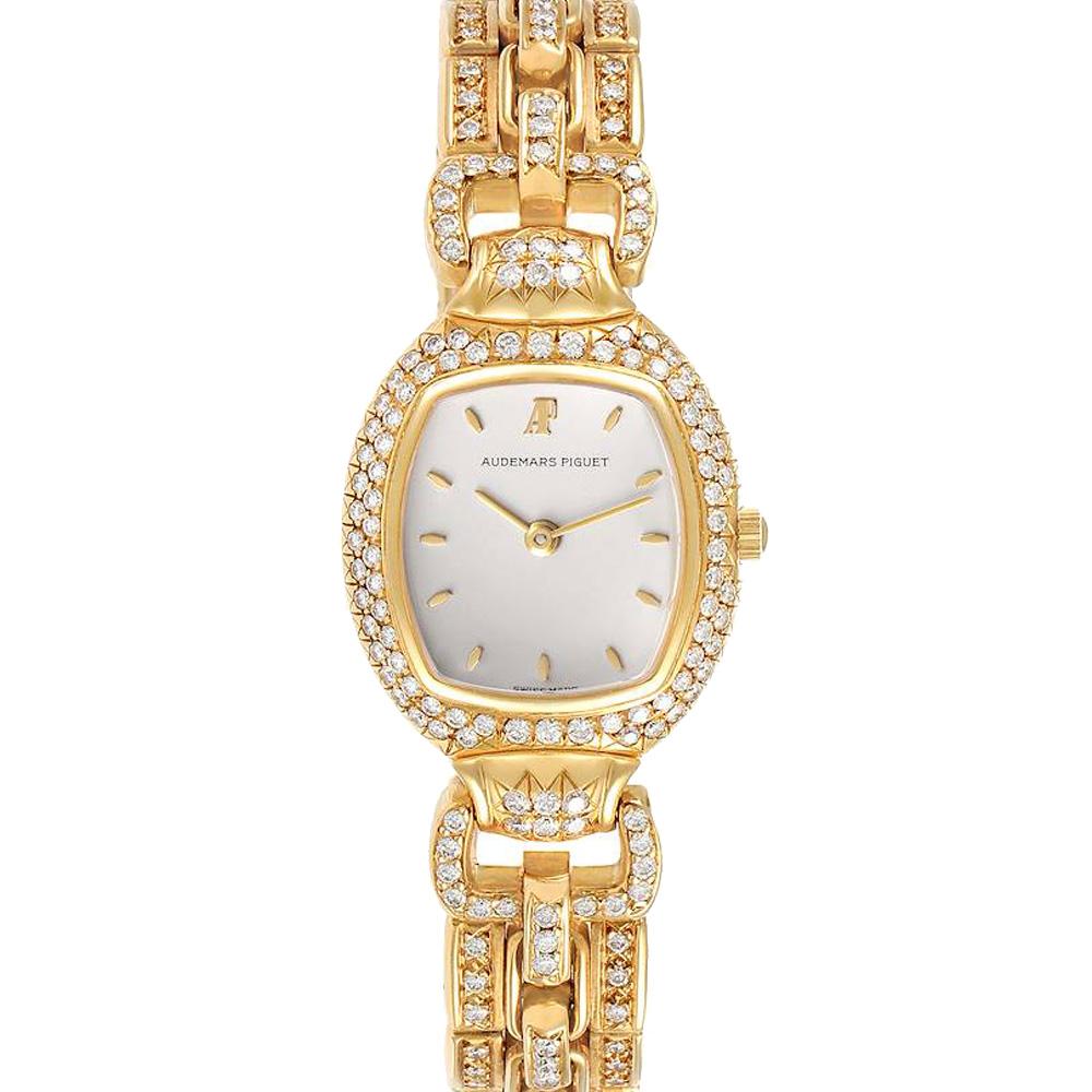 Pre-owned Audemars Piguet Silver Diamonds 18k Yellow Gold Audemarine 66474 Women's Wristwatch 23 X 35 Mm