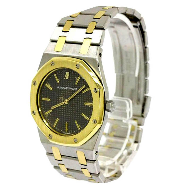 Audemars Piguet Grey 18K Yellow Gold and Stainless Steel Royal Oak Women's Wristwatch 33MM