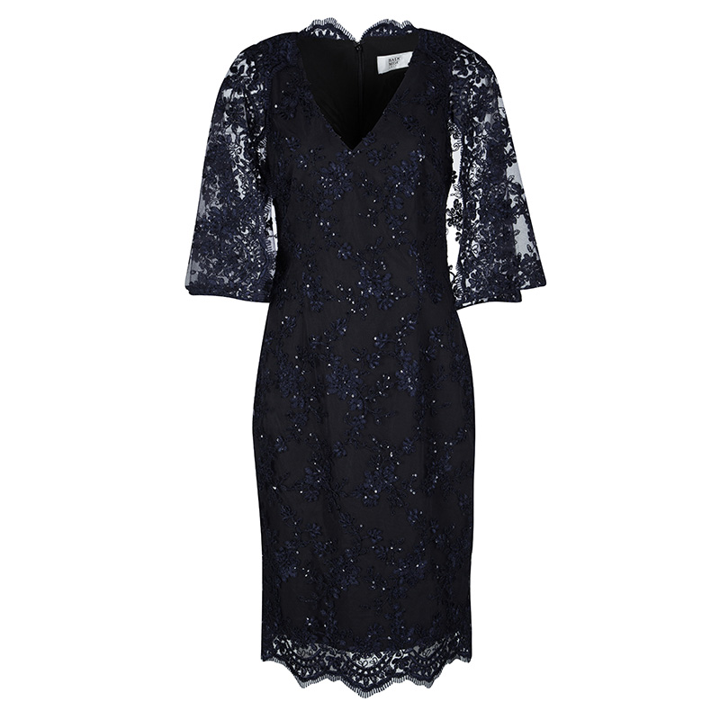 9000e4d51 Buy Badgley Mischka Navy Blue Sequined Lace Cape Sheath Cocktail ...
