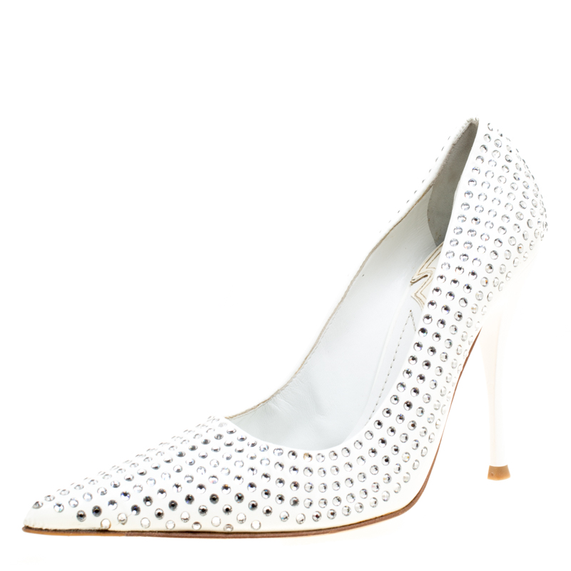 d4b6ff649a0 ... Baldinini White Patent Leather Crystal Embellished Pointed Toe Pumps  Size 38. nextprev. prevnext