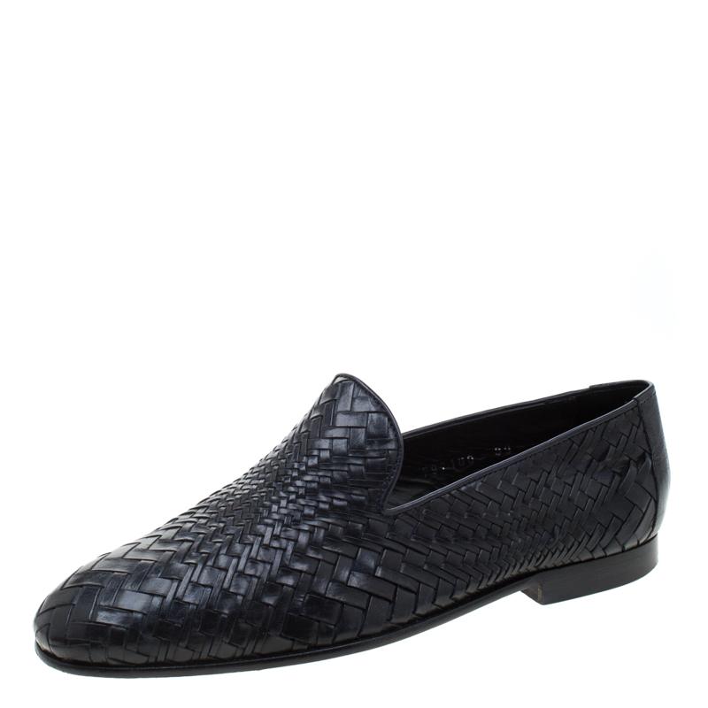 Baldinini Black Woven Leather Loafers Size 39