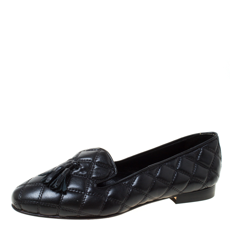 Baldinini Black Quilted Leather Loafers Size 36