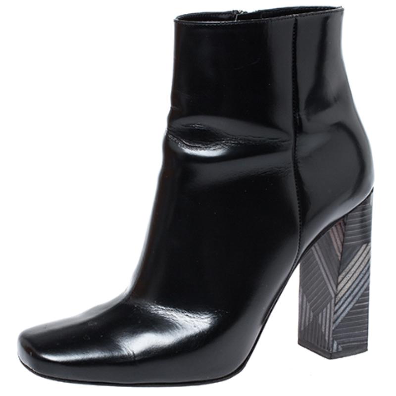 Baldinini Black Leather Tribal Block Heel Ankle Boots Size 39