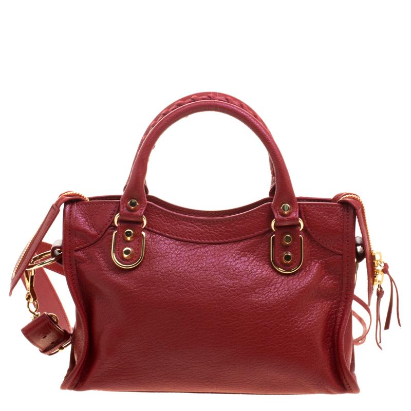 la meilleure attitude 47cb6 ae7d7 Balenciaga Rouge Vif Leather Mini RGH City Tote