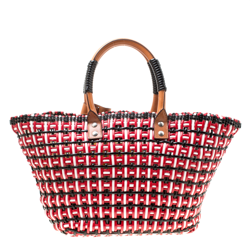 Balenciaga Multicolor Woven Pvc And Leather Bistro Cabas Tote