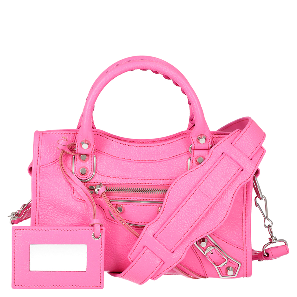 Pre-owned Balenciaga Pink Motocross Classic Mini Leather City Tote Bag