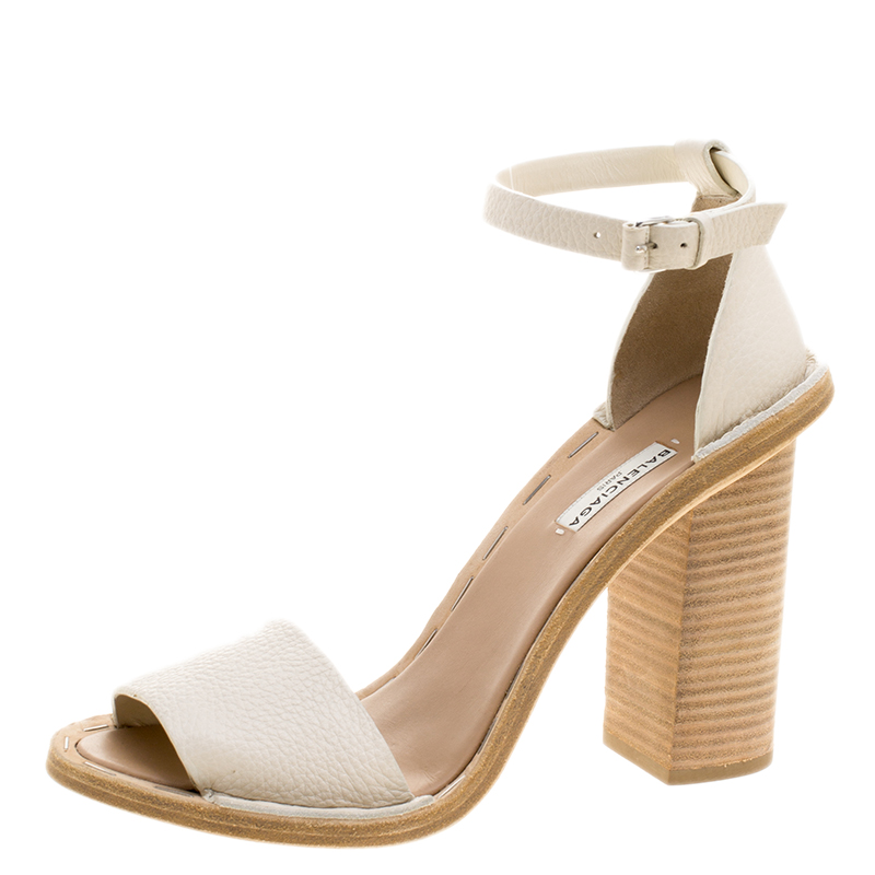 2c8ada61515 ... Balenciaga Cream Leather Ankle Strap Block Heel Sandals Size 40.  nextprev. prevnext