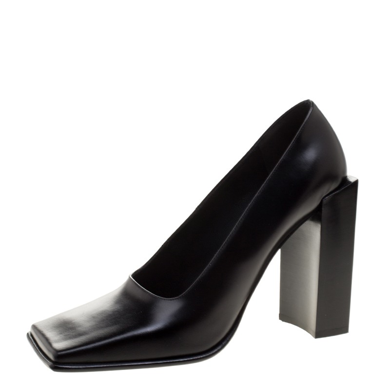 3938d58bc5b7 Balenciaga Black Leather Quadro Square Toe Block Heel Pumps Size 38.  nextprev ...