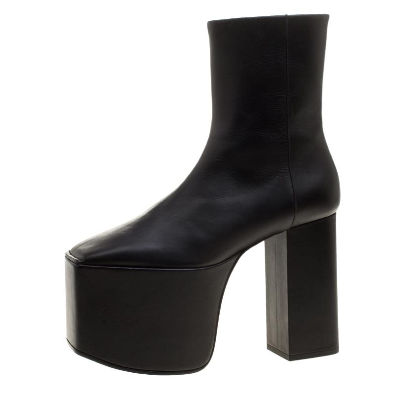 Balenciaga Black Leather Block Heel