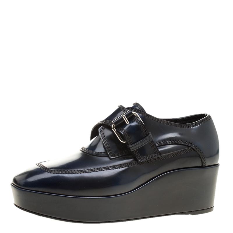 b641bceb74fd Buy Balenciaga Oxford Blue Leather Monk Strap Platform Loafers Size ...