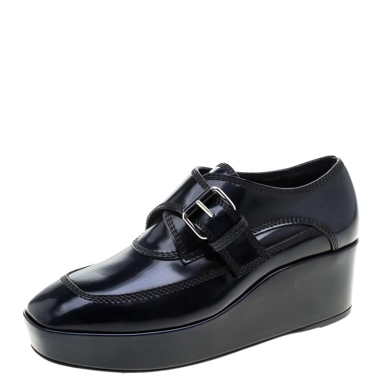 Balenciaga Blue Patent Leather Monk Strap Platform Loafers Size 37