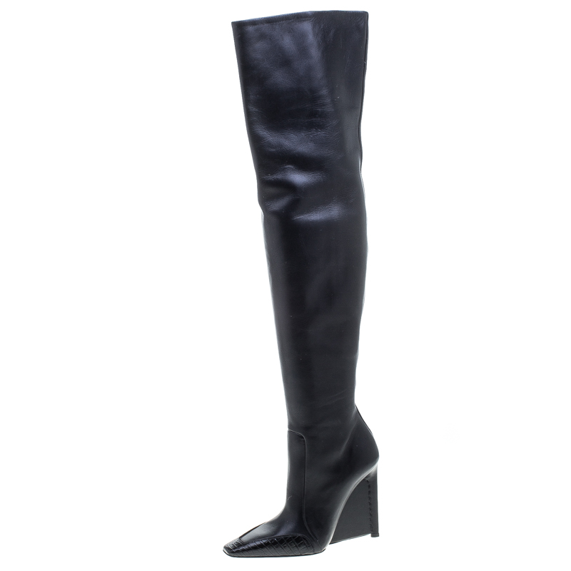 ef8a4297c3b Buy Balenciaga Black Leather and Croc Trim Over The Knee Boots Size ...