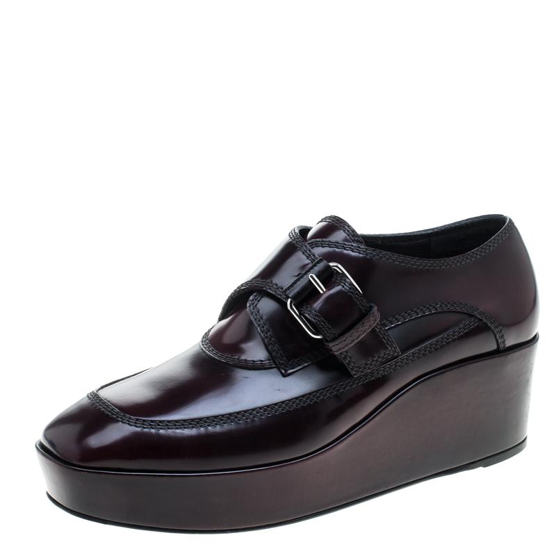 Balenciaga Burgundy Patent Leather Monk Strap Platform Loafers Size 39