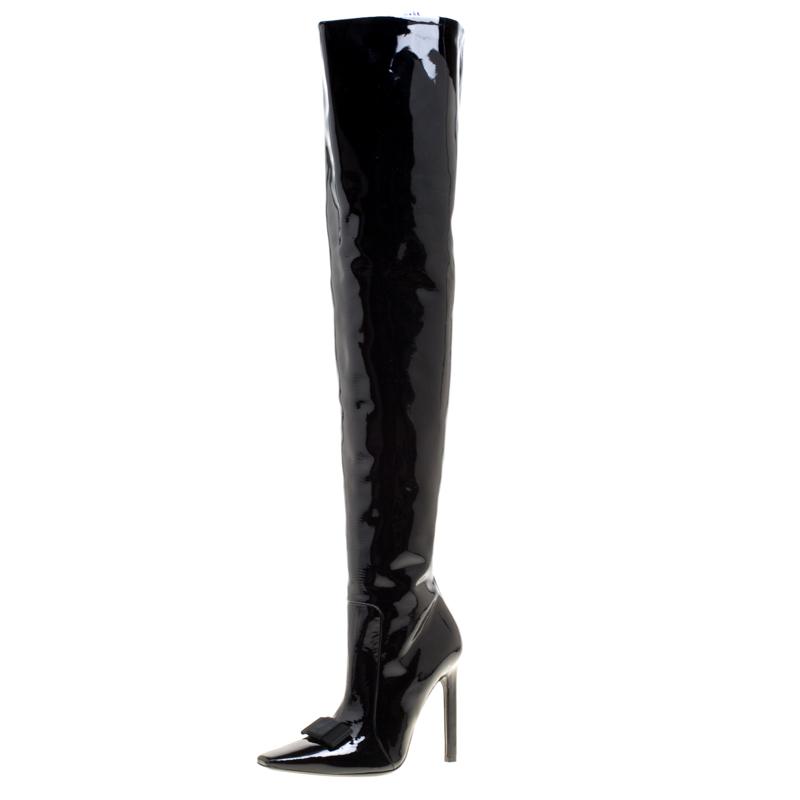 ad20b43b9ec7 ... Balenciaga Black Patent Leather Bow Detail Over The Knee Boots Size 37.  nextprev. prevnext