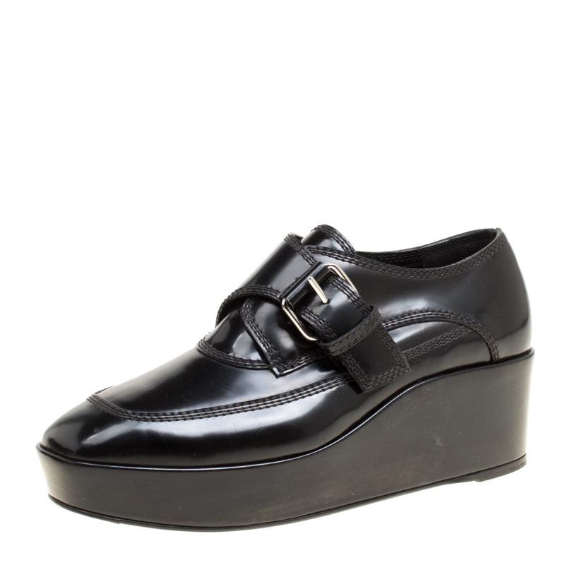 5035d20a9fab Buy Balenciaga Black Patent Leather Monk Strap Platform Loafers Size ...