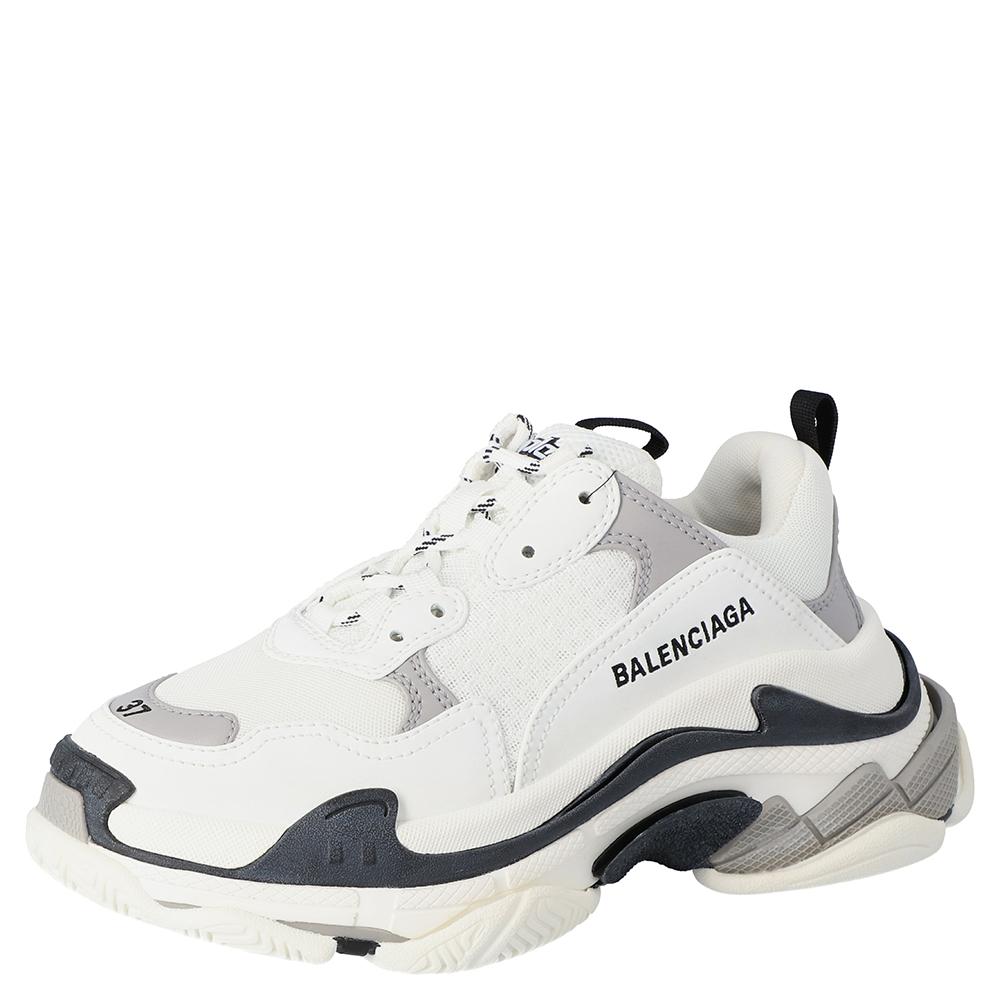 Balenciaga White/Black Leather and Mesh Triple S Platform Sneakers Size  38