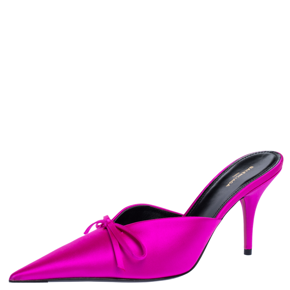 Pre-owned Balenciaga Metallic Pink Satin Knife Pointed Toe Mules Size 37