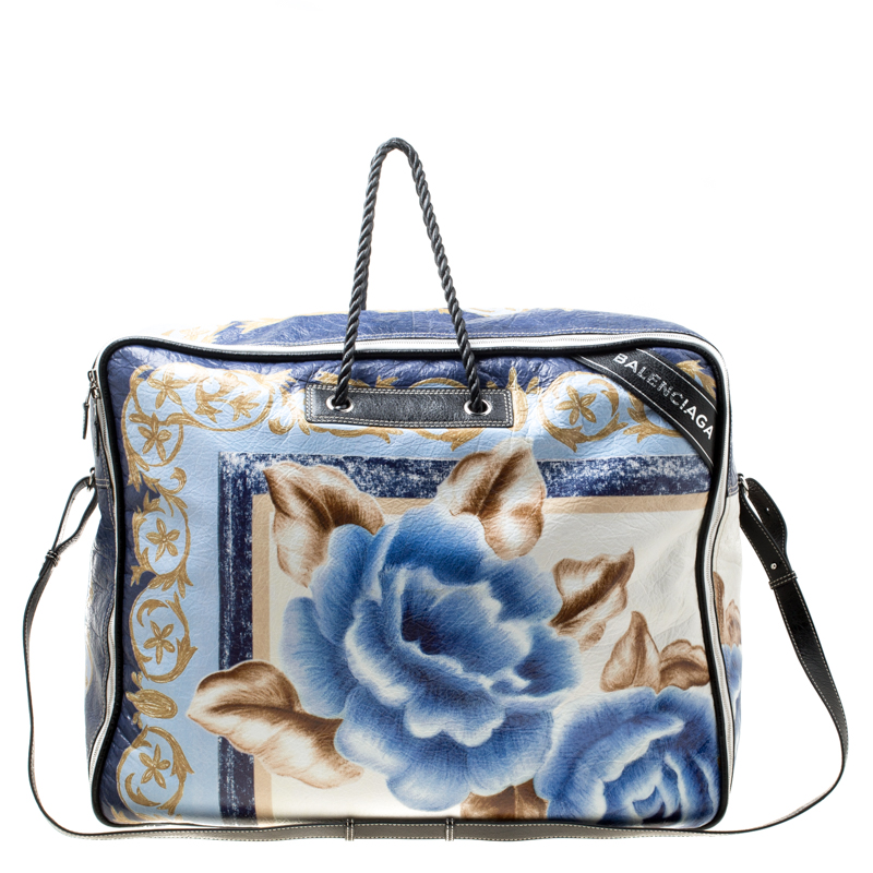 a102f8b17e ... Balenciaga Blue Floral Print Glazed Leather Blanket Bag. nextprev.  prevnext