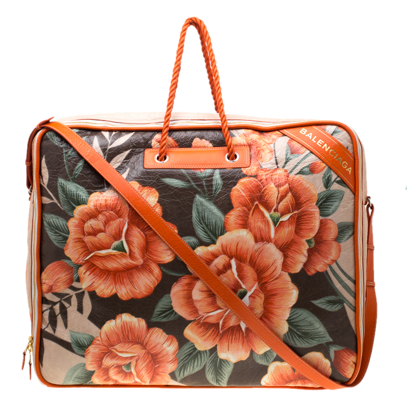 29c7a6572e ... Balenciaga Orange Floral Print Glazed Leather Blanket Bag. nextprev.  prevnext