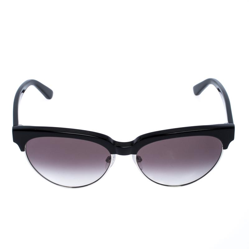 Balenciaga Noir/Argent Gradient de la Moitié de la Jante BA 127 Cat Eye Lunettes de soleil