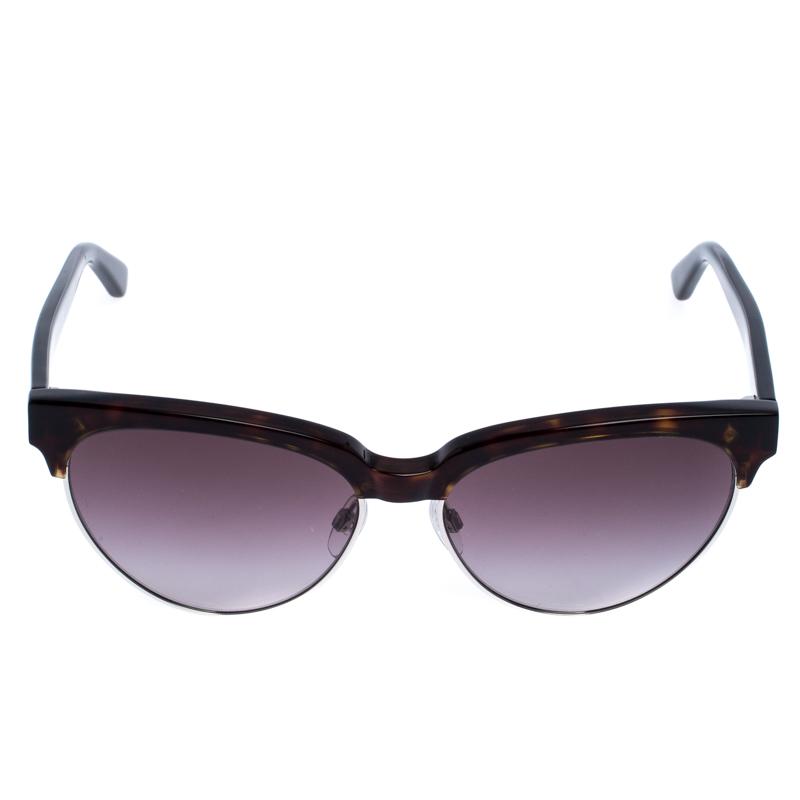 Balenciaga Brown Tortoise Gradient BA 127 Demi-Jante de Lunettes de soleil Oeil de Chat
