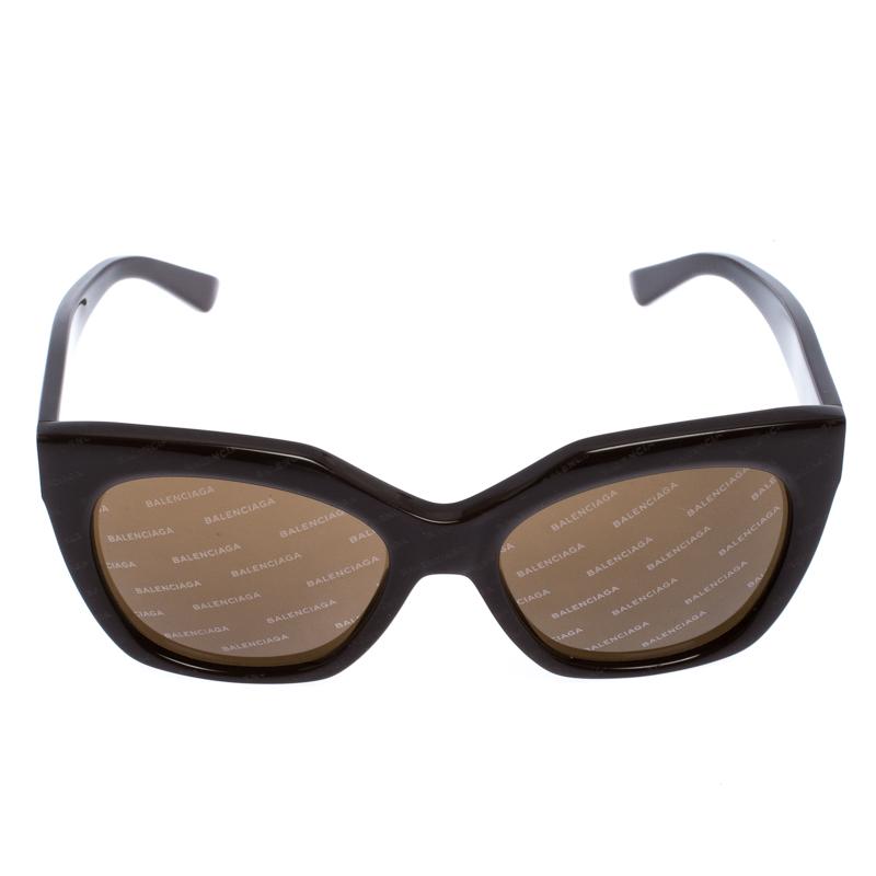 Balenciaga Brown Diagonale Impression De Logo Cat Eye Lunettes De Soleil