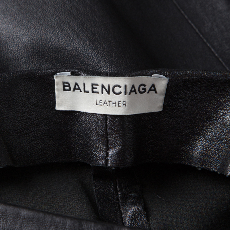 new lifestyle good quality outlet Balenciaga Black Lambskin Leather Skinny Pants S