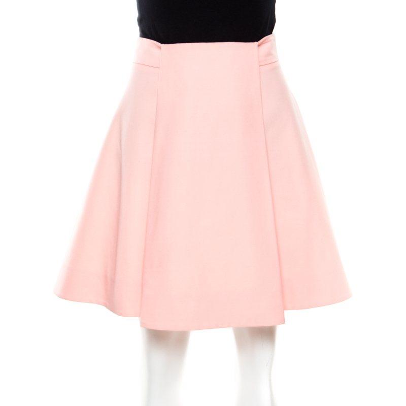 Balenciaga Pink Box Pleat Detail Mini Skirt M