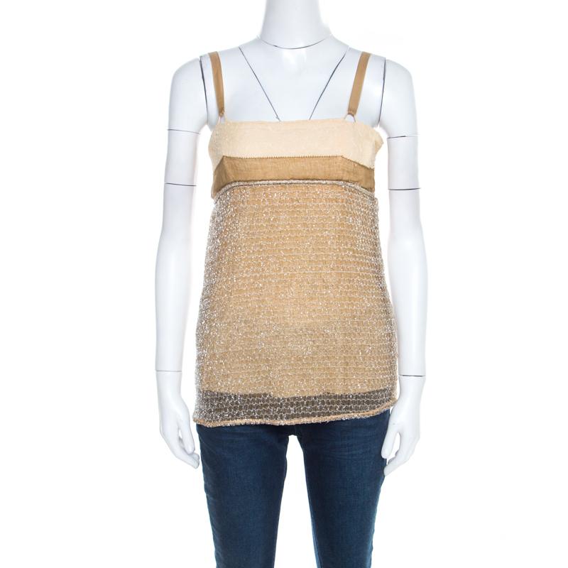 3fb4b00ab17 Balenciaga Ochre Yellow Embroidered Cotton Inlay Textured Camisole S