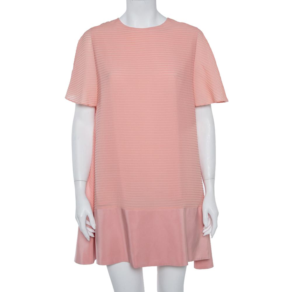 Pre-owned Balenciaga Silk Pink Pintuck Detail A-line Shift Dress L