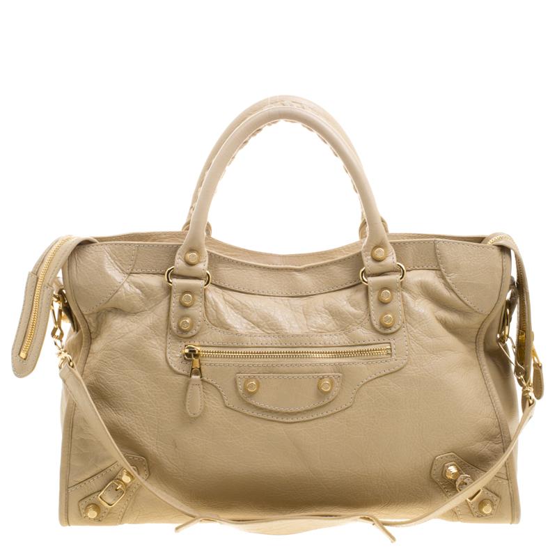 dfa3a279e8 Buy Balenciaga Beige Oryx Leather Classic City Gold Hardware Tote ...