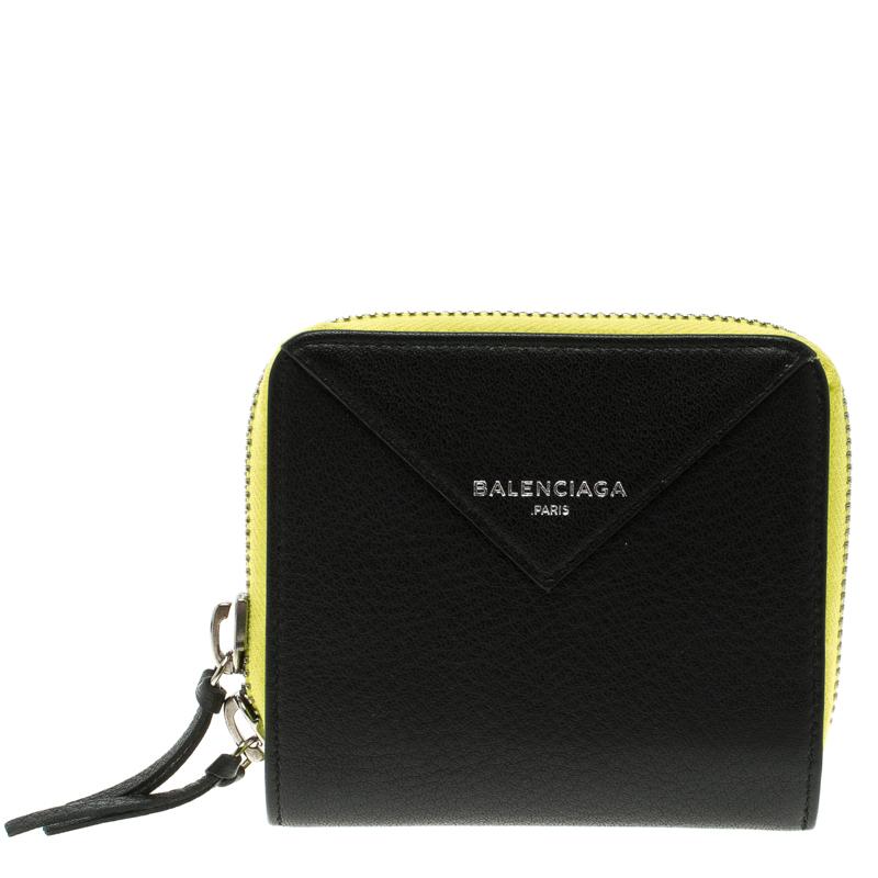 Balenciaga Black/Neon Green Leather Papier Zip Compact Wallet
