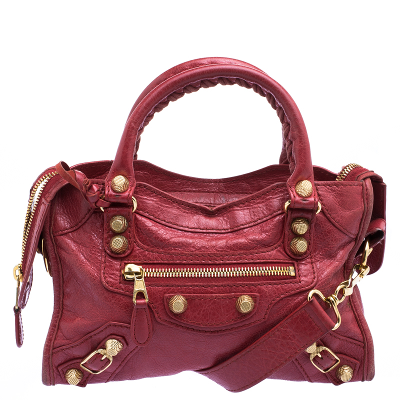 8a60598e90 Buy Balenciaga Red Leather Mini Gold Hardware City Bag 116502 at ...