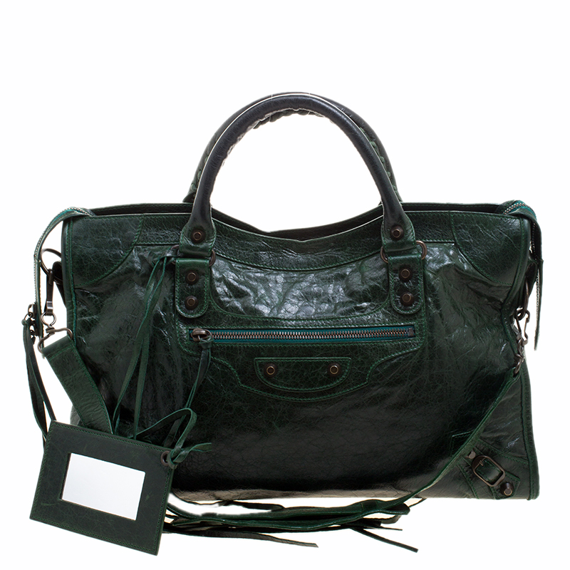 2d4d0a2535 Buy Balenciaga Pine Leather Classic City RH Tote 119514 at best ...