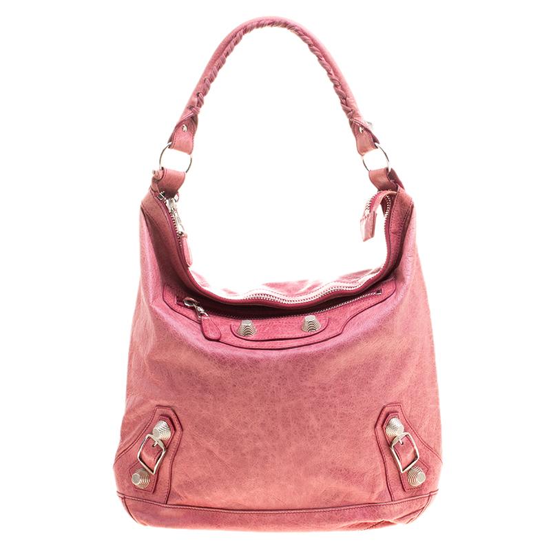 Balenciaga Rose Leather Classic Day RGGH Hobo