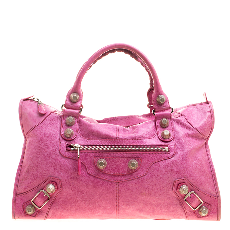 4ca5fe87c6 Buy Balenciaga Framboise Leather GSH Work Tote 126813 at best price ...