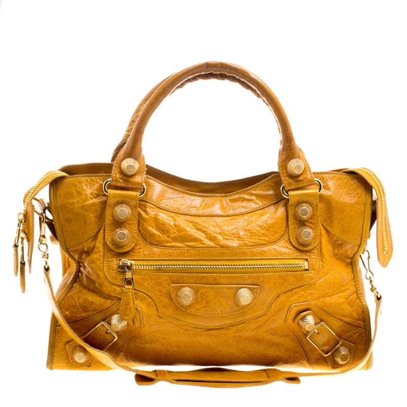 092074be6d96 Buy Balenciaga Mustard Yellow Leather GH City Bag 127163 at best price
