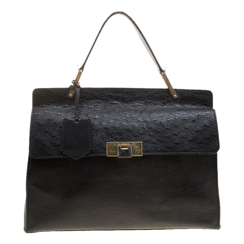 ee9ac6ecbd3 ... Balenciaga Black Leather and Ostrich Le Dix Cartable Top Handle Bag.  nextprev. prevnext